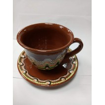 Coffe cup with plate traditional ceramic