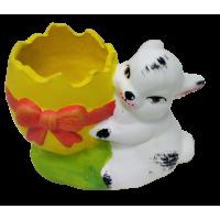 Ceramic flower pot with rabbit