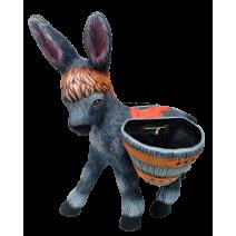 Ceramic donkey with two flower pots - big size