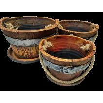Ceramoc flower pot - bucket 3 pcs in different sizes