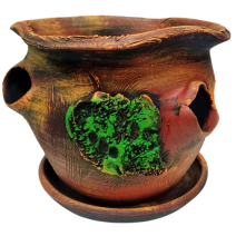 Ceramic flower pot side with holes