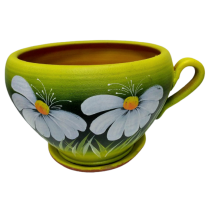 Ceramic flower pot in a cup shape - middle size