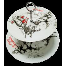 Christmas porcelain fruitbowl on 2 levels