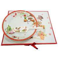 Christmas cake plate with a spoon