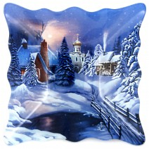 Christmas glass square plate - 15.5 cm
