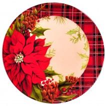 Christmas glass plate - round - 20 cm