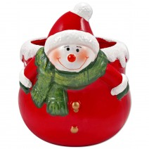 Christmas Pot with Snowman