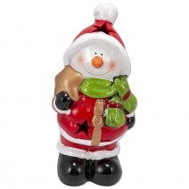 Decorative ceramic figure Snowman with LED lighting - big size