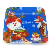 Christmas glass plate - square with rounded corners - 17.5 cm