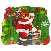 Christmas glass plate - square with sharp angles - 20cm