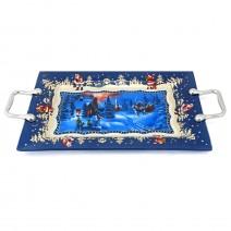 Christmas rectangular glass plate with handles - 35 x 22 cm