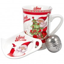 Christmas mug with lid and strainer for tea brewing