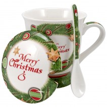 Christmas mug in a box with a lid, a scoop and a strainer