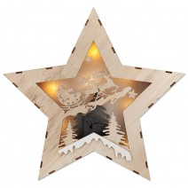 Wooden Christmas picture with LED lights - star