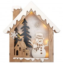 Wooden Christmas Picture with LED Lights - House