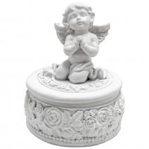 Jewelry box with angel - round