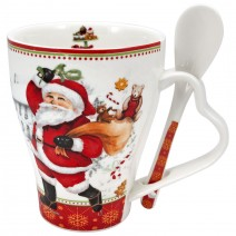 Christmas porcelain cup with spoon and cylindrical gift box
