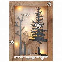 Wooden Christmas picture with LED lights