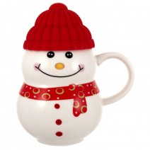 Christmas porcelain cup of snowman with a silicone cap