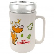Christmas porcelain cup with screw cap