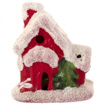 Decorative ceramic Christmas house with LED lighting