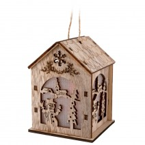 Wooden Christmas middle house with LED lights