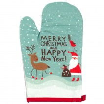 Set of  glove and handle for warm with Christmas stamp