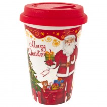 Christmas porcelain mug with silicone lid in a box