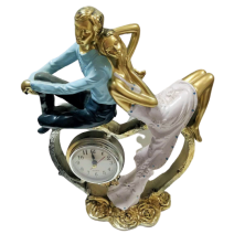 Poliresin clock with couple of man and woman