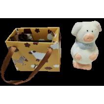 Ceramic small piggy in a bag