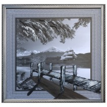Painting with black and white landscape and embossed elements