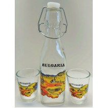 Glass square bottle - set with 2 cups and map of Bulgaria