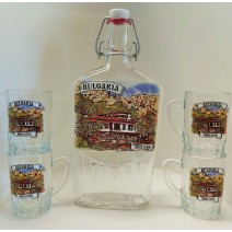 Glass souvenir set - a bottle with four small cups with different views from BG