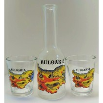 Glass set of a small bottle 100 ml with two shots with a map of BG