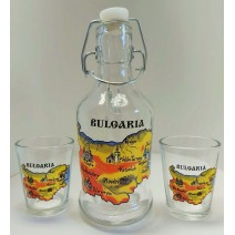 Glass souvenir bottle with handle - set 2 cups with a map of Bulgaria