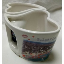Ceramic set with two cups in a heart shape BG seaside