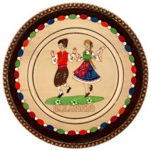 Wooden saucer with household pyrography - 15 cm