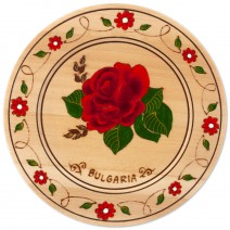 Wooden saucer with household pyrography - 18 cm