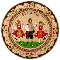 Wooden saucer with household pyrography - 22 cm