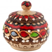 Wooden covered salt@pepper with pyrography