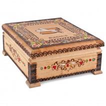 Souvenir wooden pyrography cigarette box