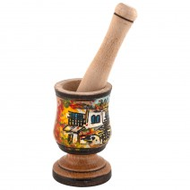 Wooden small mortar - painted