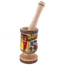 Wood mortar - big - painted
