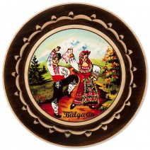 Wooden plate with carving and stamp - 18 cm