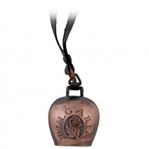 A copper bell with a leather strap and rose