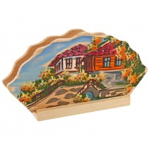 Wooden napkin holder with drawing Bulgaria