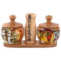 Wooden Salt@pepper pair - painted