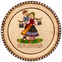 Wooden saucer with household pyrography - 10 cm
