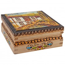 Souvenir box with pyrography and printing