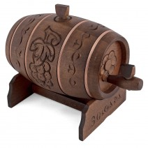 Wooden keg with carvings - 1 liter